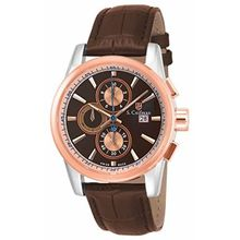 S Coifman SC0254 Mens Brown Dial Analog Quartz Watch with Leather Strap