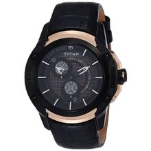 Titan 1540KL01 Mens Black Dial Analog Quartz Watch with Leather Strap