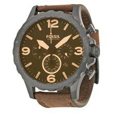 Fossil JR1487 Mens Black Dial Analog Quartz Leather Strap Watch