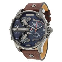 Diesel Daddy DZ7314 Mens Navy Blue Dial Analog Quartz Watch with Leather Strap