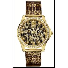 Women's Guess Animal Print Mesh Bracelet Watch U0333L1
