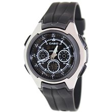 Casio AQ163W-1B1V Mens Black Dial Dual Quartz Watch with Rubber Strap