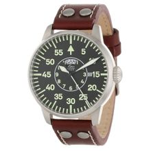 Laco/1925 861806 Mens Black Dial Analog Quartz Watch with Leather Strap