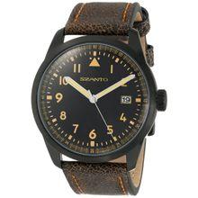 Szanto SZ 2202 Mens Black Dial Analog Quartz Watch with Leather Strap