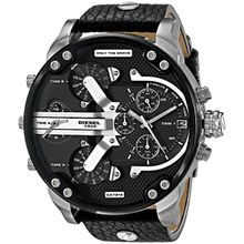 Diesel DZ7313 Mens Black Dial Quartz Watch with Leather Strap