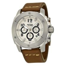 Fossil FS4929 Mens White Dial Analog Quartz Watch with Leather Strap