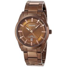 Pulsar PH9019 Mens Brown Dial Analog Quartz Watch with Stainless Steel Strap