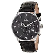 Edox 10408 3N NBN Mens Black Dial Quartz Watch with Leather Strap