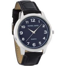Daniel David DD10702 Mens Blue Dial Analog Quartz Watch with Leather Strap