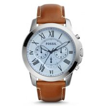 Fossil FS5184 Mens Silver Stainless Steel Case Brown Leather Strap Round  Watch