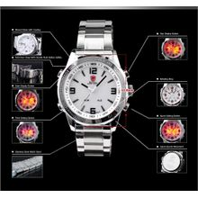 Shark SH006 Mens White Dial Analog Quartz Watch with Stainless Steel Strap