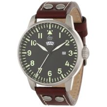 Laco/1925 861807 Mens Black Dial Analog Quartz Watch with Leather Strap