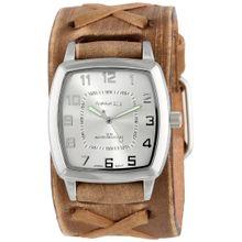 Nemesis BFX017S Mens Silver Dial Analog Quartz Watch with Leather Strap
