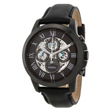 Fossil Grant ME3028 Mens Black Dial Analog Automatic Watch with Leather Strap