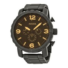 Fossil JR1356 Mens Black Dial Analog Quartz Watch with Stainless Steel Strap
