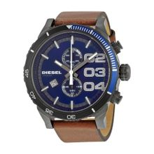 Diesel DZ4312 Mens Blue Dial Analog Quartz Watch with Leather Strap