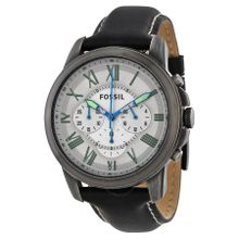 Fossil Grant FS4921 Mens White Dial Analog Quartz Watch with Leather Strap