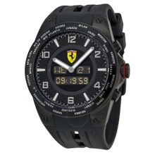 Ferrari FE-05-IPB-FC Mens Black Dial Dual Quartz Watch with Rubber Strap