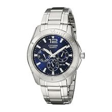 Citizen AG8300-52L Mens Blue Dial Quartz Watch with Stainless Steel Strap