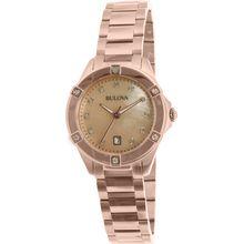 Bulova 97W101 Womens Rose Gold Stainless-Steel Quartz Watch