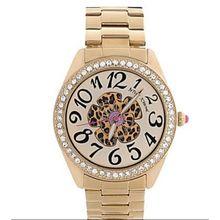 Betsey Johnson BJ00048-52 Womens Gold-Tone Leopard Flower Boyfriend Watch