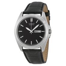 Citizen BF0580-06E Mens Black Dial Analog Quartz Watch with Leather Strap