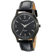 Akribos Xxiv AK539BK Mens Black Dial Analog Quartz Watch with Leather Strap