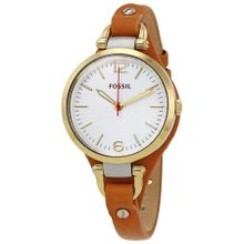 Fossil Georgia ES3565 Womens White Dial Analog Quartz Watch with Leather Strap
