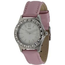 Guess U95176L1 Womens White Dial Quartz Watch with Leather Strap