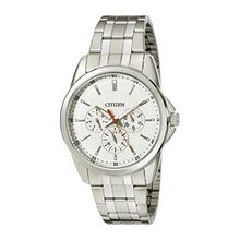 Citizen AG8340-58A Mens Beige Dial Quartz Watch with Stainless Steel Strap