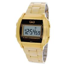 Q&Q #ML04-301Y Men's Metal Stainless Steel Band Chronograph LCD Digital Watch