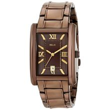 Relic ZR77242 Mens Brown Dial Analog Quartz Watch with Stainless Steel Strap