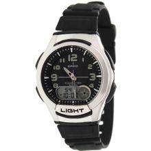 Casio AQ180W-1BV Mens Black Dial Dual Quartz Watch with Resin Strap