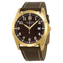 Victorinox 241645 Mens Brown Dial Analog Quartz Watch with Leather Strap