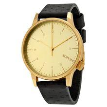 Komono W2002 Mens Gold Dial Analog Quartz Watch with Leather Strap