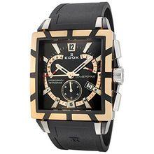 Edox 01504 357RN NIR Mens Black Dial Quartz Watch with Stainless Steel Strap