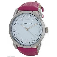 Anne Klein AK/1551WTPK Womens White Dial Analog Quartz Watch with Leather Strap
