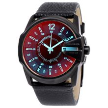 Diesel DZ1657 Mens Orange Dial Analog Quartz Watch with Leather Strap