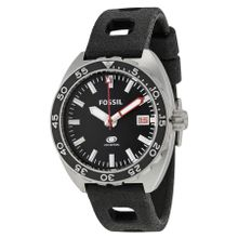 Fossil Breaker FS5053 Mens Black Dial Analog Quartz Watch with Silicone Strap