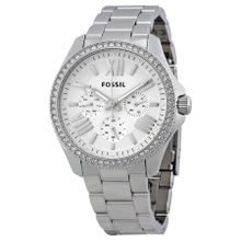 Fossil AM4481 Womens Silver Dial Analog Quartz Watch with Stainless Steel Strap