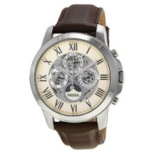 Fossil ME3027 Mens Grant White Dial Analog Automatic Watch with Leather Strap
