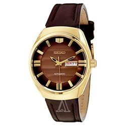 Seiko SNKN08 Mens Brown Dial with Leather Strap Automatic Watch