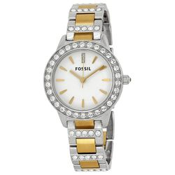 Fossil ES2409 Jesse Womens White Dial Analog Quartz Stainless Steel Watch