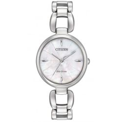 Citizen EM0420-54D Womens White Mother Of Pearl Dial Stainless Steel Bracelet Analog Watch