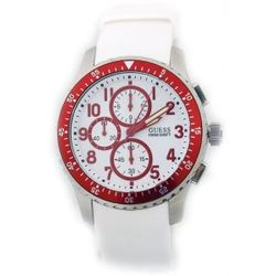 Guess U12651G3 Mens White Dial Analog Quartz Watch with Rubber Strap