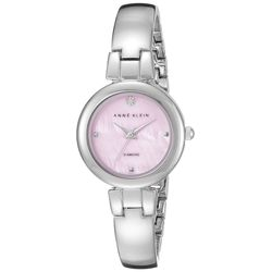 Anne Klein AK/2079PMSV Womens Pink Pearl Dial Metal Bangle Bracelet Watch