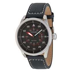Citizen AW1361-01E Mens Black Dial Analog Quartz Watch with Leather Strap