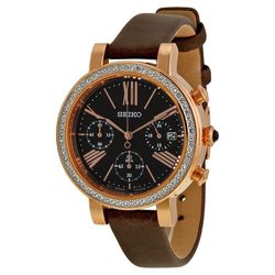 Seiko SRW018 Womens Brown Dial Analog Quartz Watch with Leather Strap