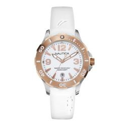 Nautica N13024M Mens White Dial Analog Quartz Watch with Resin Strap